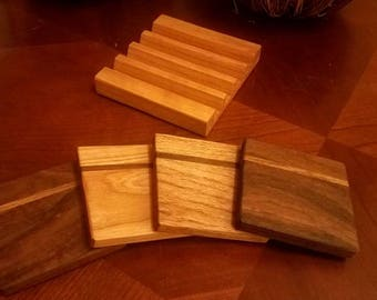 Set of 4 Handmade Wooden Coasters with Custom Cherry Holder