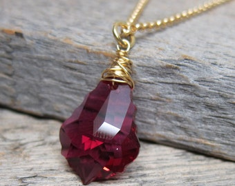 Santa's Helper - Raspberry Ruby Necklace ... wire wrapped baroque crystal brio