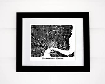 Jacksonville Map! Jacksonville, Florida, Black and White, More Colors Available!