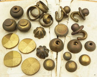 Lot of 25 Vintage Brass Hardware Hook Screw on Cap Altered Art Steampunk Assemblage Supply