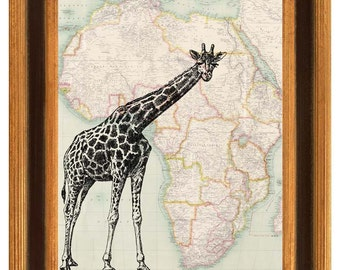 Giraffe Print, giraffe map art, antique Africa map, Giraffe, vintage map safari art illustration decorative arts collage shabby chic print