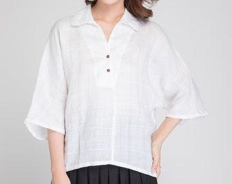 linen tunic, loose white shirt, women t shirt, white blouse, asymmetric blouse, summer blouse, minimalist blouse, white blouse shirt 1891