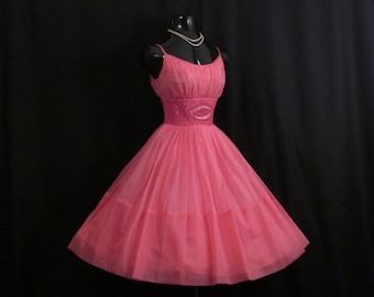 Vintage 50s 1950's HOT PINK Fuschia Beaded Rhinestones Ruched CHIFFON Organza Party Prom Wedding Dress