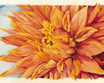 Va'l Dahlia: beautiful and vibrant gallery wrapped print on canvas from the original artwork of Nina Mattoon