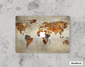 Laptop Skin MacBook Pro Sticker Apple Mac Air Decal Retina Touch Bar  Cover 11 12 13 15 17 Map of the world