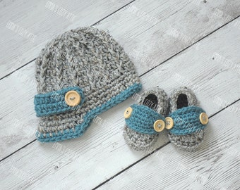 Baby newsboy hat, baby boy hat, baby shoes, newborn boy hat, coming home outfit, newborn newsboy hat, newsboy outfit, newsboy cap, crochet