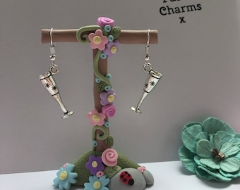 Procecco lover bubbles champagne glass earrings, with gift box  x