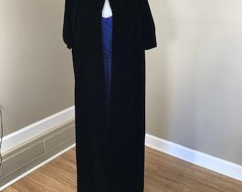 Vintage 60's Black Velvet Cape Cloak Overcoat