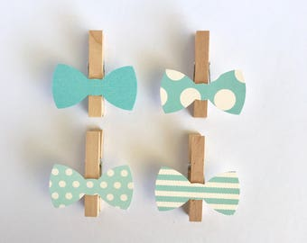 Donu0027t Say Baby Clothespins Blue Bow Ties Baby Shower Decoration Games Clips  Pin Birthday Wedding Party Favor Boy Polka Dot Photo Display