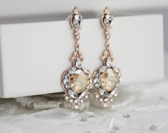 Wedding Earrings Rose Gold Vintage Bridal Earrings Swarovski Crystal Chandelier Earrings Rustic Modern Bride Gift  ESTELLA CRYSTAL EARRINGS