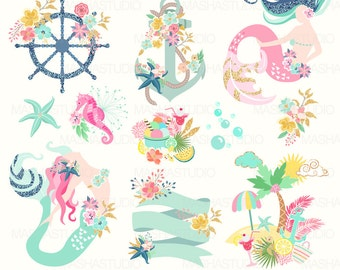 """Summer clipart: """"MERMAID CLIPART"""" with mermaids, navy clipart, nautical clipart, anchor clipart, island, 13 images, 300 dpi. PNG files"""