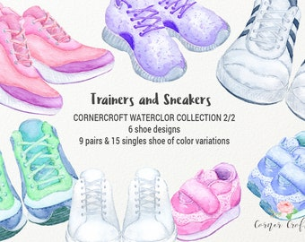 Trainers and sneakers collection (2/2) - watercolor trainer and watercolor sneaker in full color range for instant download