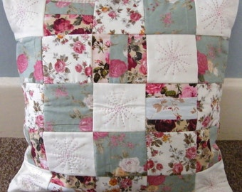 Floral and hand stitched detail patchwork squares cushion cover 16 x 16 inch.Floral fabrics.padded squares.with hand stitched detail.
