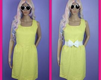 Vintage Yellow Sun Dress Tea Dress