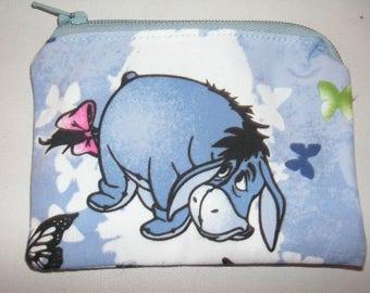 Winnie the pooh Eeyore handmade zipper fabric coin change purse card holder