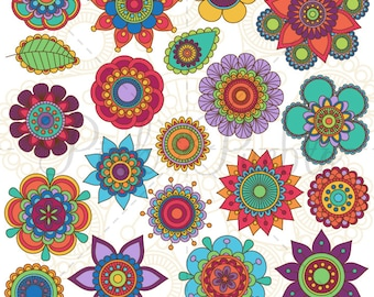 Hand Drawn Flowers Clipart Clip Art 2, Doodle Mandala Clip Art Clipart Vectors - Commercial and Personal Use