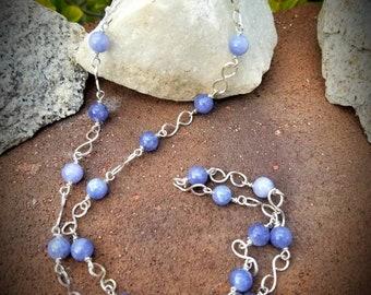 Blue Angelite Sterling Necklace