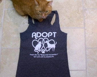 Workout Tank, yoga tank top, Adopt shirt, adopt, cat shirt, cat, dog shirt, dog, animal rescue, womens tank top, shirt, summer fashion, boho