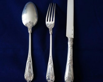 Set of Henri Soufflot Sterling Silver .950 Rococo Dessert Knive, Fork & Spoon, France late 19th Century