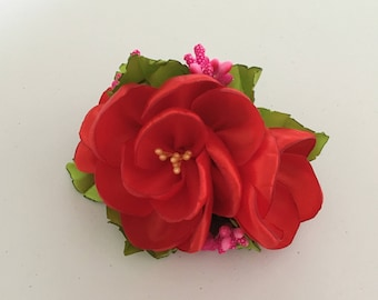Red Flower Hair Clip, Red Flower Barrette, Red Flower Hair Accessories