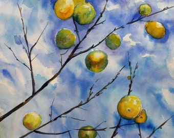 The sky in lemons, original watercolour painting, watercolor fruits, lemons branches, concept modern artwork yellow on blue nature wall art