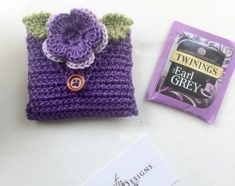 Crocheted Tea Travel Purse / Tea Purse / Tea bag Holder - in Pure Cotton