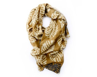 Gold Scarf SAMPLE SALE cotton silk scarves wrap Block Printed Scarf anniversary gift for women natural dyes women accessories - Gold Leaf