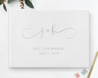 Silver Wedding Guest Book, Initials Wedding Guest Book, Silver Guest Book, Silver Guestbook, Calligraphy Guest Book, White Blank Pages, 31