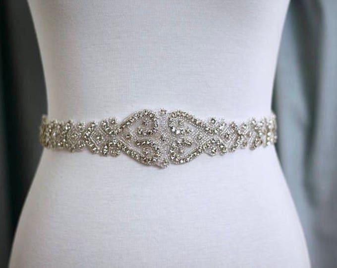 Art deco Bridal Belt, Bridal Sash, Wedding Belt, Wedding Sash Rhinestone and Pearl Sash 12S