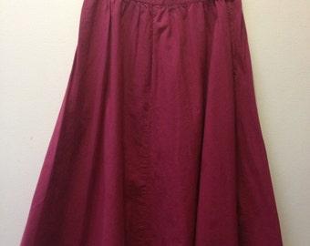 Vintage Burgundy A-Line Midi Skirt