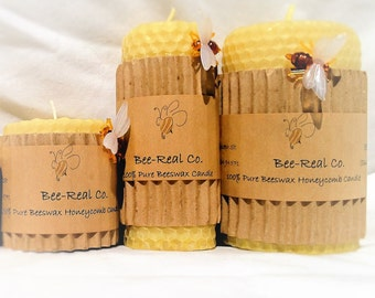 """2"""" x 2"""" 100% Pure Beeswax Hand Rolled Honeycomb Candle"""