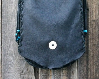 Crossbody leather handbag , Black Leather Purse , Simple black handbag, Leather possibles bag Custom handmade handbag, Black handbag
