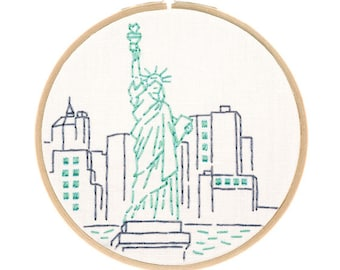 STATUE OF LIBERTY embroidery kit - New York City art, hand embroidery kit, travel souvenir, embroidery pattern by StudioMME
