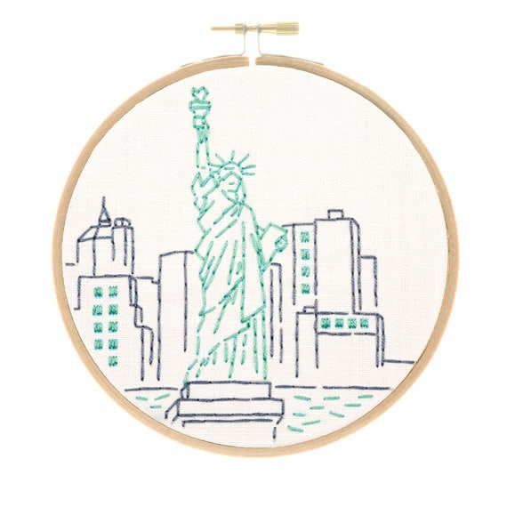 Statue Of Liberty Embroidery Kit New York City Art Hand