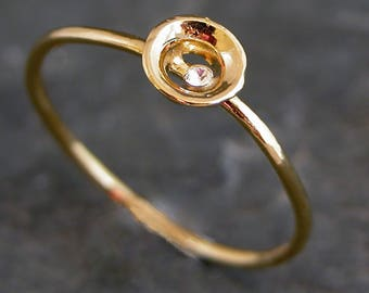 Mother Gift For Women, Tiny Gold Ring, Minimalist Hollow Ring, Stacking Ring, Women's Jewelry