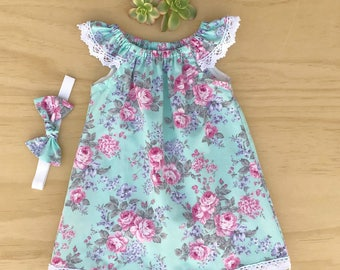 Girls dress, Baby girl dress, Baby peasant dress, Girls clothing set, Baby rose dress, Baby clothing outfit, Teal rose dress