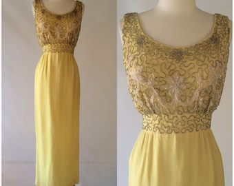Vintage 60s Kay Selig Yellow Maxi Dress Gown Evening Beaded Party Holiday Formal