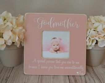 Godmother picture frame, custom picture frame,  picture frame, baptism frame, mother's day gift, personalized picture frame, Godmother gift