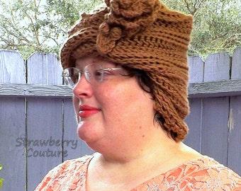 Unusual Gifts, Unique Gift for Women, 1920s Cloche Hat, Crochet Hat Womens Hat 1920s, Toasted Almond Hat, Lauren Cloche Hat, Mobius Hat