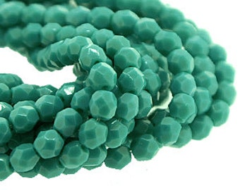 Dark Persian Turquoise 4mm FirePolish, Faceted Round Opaque Fire Polished Czech Glass Beads x 50