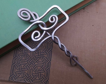 Norse Thor's Hammer Mjolnir Shawl Pin, Scarf Pin, Cardigan Closure Sweater Brooch Aluminum Celtic Jewelry, Celtic Accessories Women, Knitter