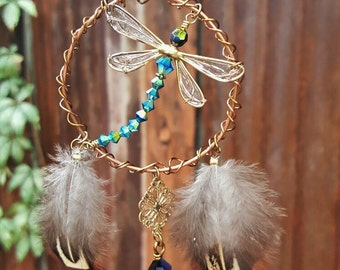 Dream Catcher Dragonfly, Window Decor, Bohemian Decor, Housewarming Gift Dragonfly, Dragonfly Memento, Rear View Mirror Dream Catcher