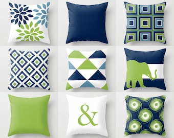 Outdoor Pillows, Navy Pear Green White, Outdoor Home Decor, Outdoor Throw  Pillows