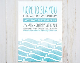 Beachy Ombre Watercolor Waves Birthday Invitation - Printable