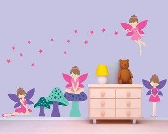 Fairy Wall Decal, Fairies Wall Decal, Girls Reusable Wall Decal
