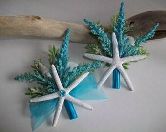 Beach Theme Wedding Starfish Boutonniere Corsage, Starfish Shell Turquoise Floral Boutonniere Corsage Pin