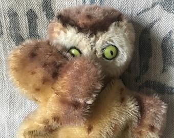 Vintage Adorable Mohair Steiff Owl Puppet