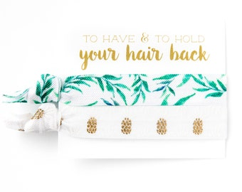 Tropical Hair Tie Favor | Bridesmaid Gift Hair Tie Favors, White + Gold Pineapple, Green Tropical Leaves, Beach Bachelorette Party Favors