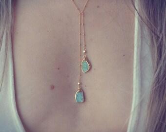 AQUA LARIAT /// Gold Turquoise Lariat Necklace