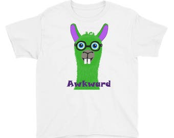 Lime Green Alpaca Llama Awkward kid's  Short Sleeve T-Shirt